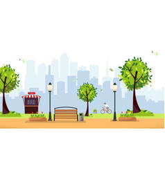 summer park public park in city with street vector image