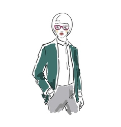 The business woman in sunglasses and a jacket vector