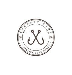 Vintage crossed hook fishing sport club logo vector