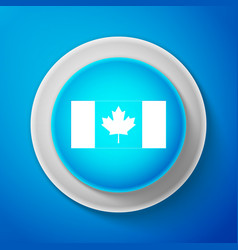 white canada flag icon isolated on blue background vector image