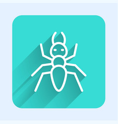 White line ant icon isolated with long shadow vector