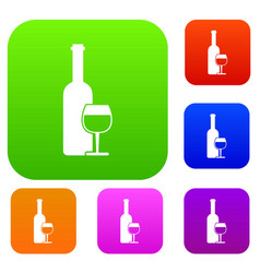 wine bottle and glass set collection vector image