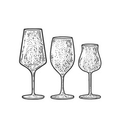 wine glasses sketch vector image