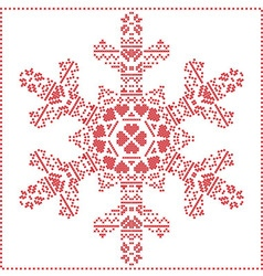Winter pattern in snowflake shape vector image