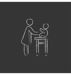 Woman taking care of baby Drawn in chalk icon vector