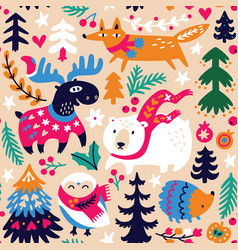 woodland seamless pattern with cozy animals and vector image