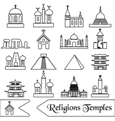 world religions types of temples outline icons vector image vector image