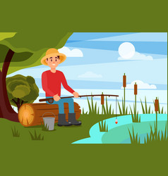 young man fishing on lake guy sitting on log with vector image