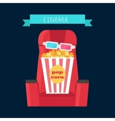 Cinema Objects Set Isolated Movie Entertainment vector image vector image