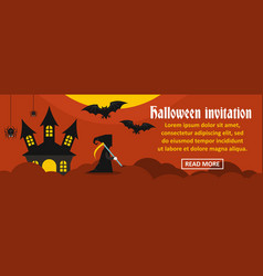 halloween invitation banner horizontal concept vector image