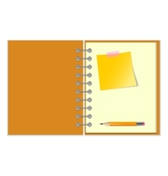 Open notebook with yellow sticker and pencil vector image