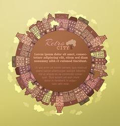 Round autumn city landscape vector image