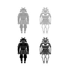 samurai japan warrior iconset grey black color vector image