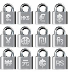 secure currency icons vector image vector image