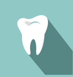 tooth icon with long shadow flat design style vector image