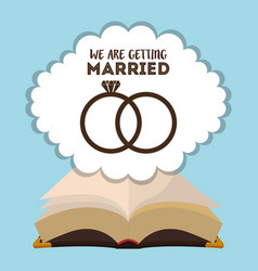 we are greeting married card with rings and bible vector image vector image