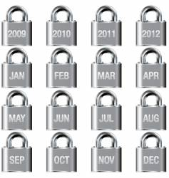 calendar icons on lock buttons vector image vector image
