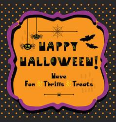 cute happy halloween emblem greeting card vector image vector image