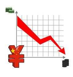 Falling and rising yen fall in oil prices Red down vector image vector image