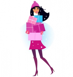 pink shopping girl with gifts vector image vector image