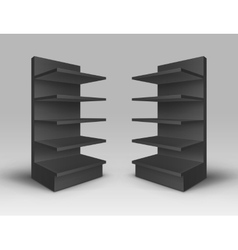 Set of exhibition trade stands racks with shelves vector
