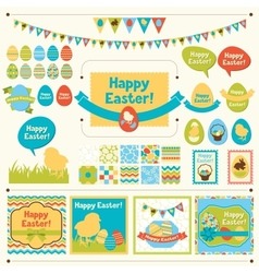 Set of Happy Easter ornaments vector image vector image