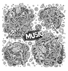 sketchy doodles cartoon set of music vector image vector image