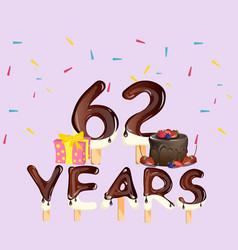 62 years happy birthday card vector image vector image