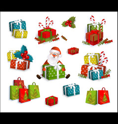 christmas gifts present boxes and santa claus vector image vector image