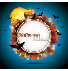 halloween party background with pumpkins and moon vector image