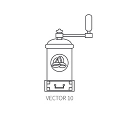 Line flat kitchenware icons - coffee mill vector