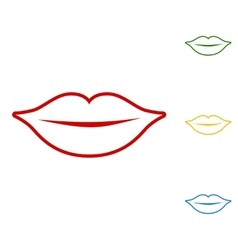 Lips sign Set of line icons vector image vector image
