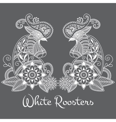mehendi White roosters vector image vector image