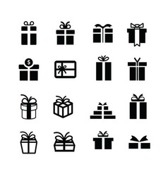 set black gift box icons vector image
