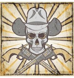 Wild west vintage grunge emblem with revolvers and vector image vector image