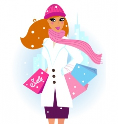 winter shopping woman in city vector image vector image
