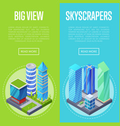 big skyscrapers architecture banners set vector image vector image