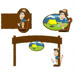 camping signs vector image vector image