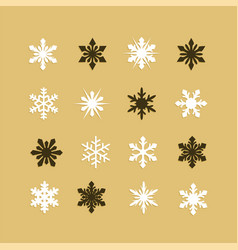 Colorful snowflakes collection isolated on golden vector