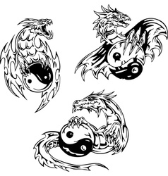 Dragon tattoos with yin-yang signs vector image