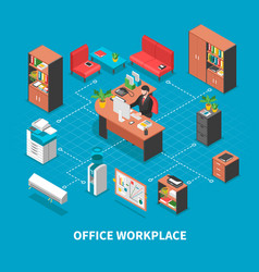 office workplace background concept vector image vector image