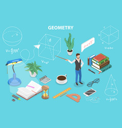 3d isometric flat concept geometry vector image