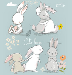 6 cute cartoon hares vector