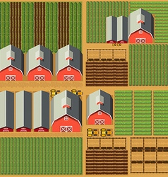 Aerial scene with barns and crops vector