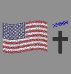 American flag collage religious cross and vector