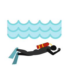Aqualanger in diving suit icon flat style vector
