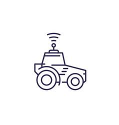 Autonomous tractor agrimotor line icon vector