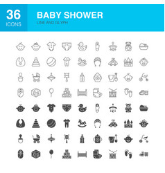 Baby shower line web glyph icons vector