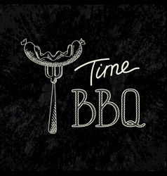 bbq time typographical inscription dark concept vector image
