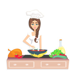 Beautiful smiling cook is preparing healthy and vector